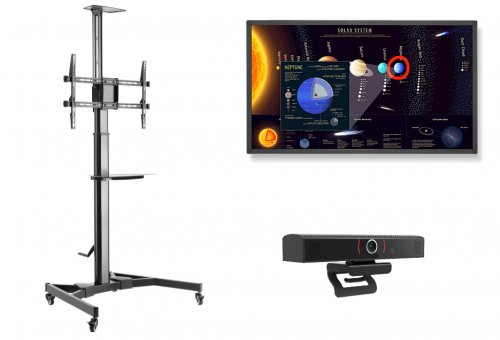 "Sistem videoconferinta cu Display Touch Nec E651-T, 65"", Stand TV Blackmount T60 si webcam SeeUP"