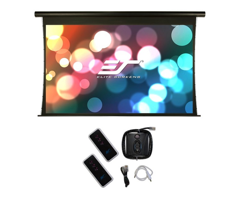 Ecran proiectie electric tensionat Elite Screens SKT120UHW-E20, marime vizibila 149.6 cm x 265.7 cm, format 16:9