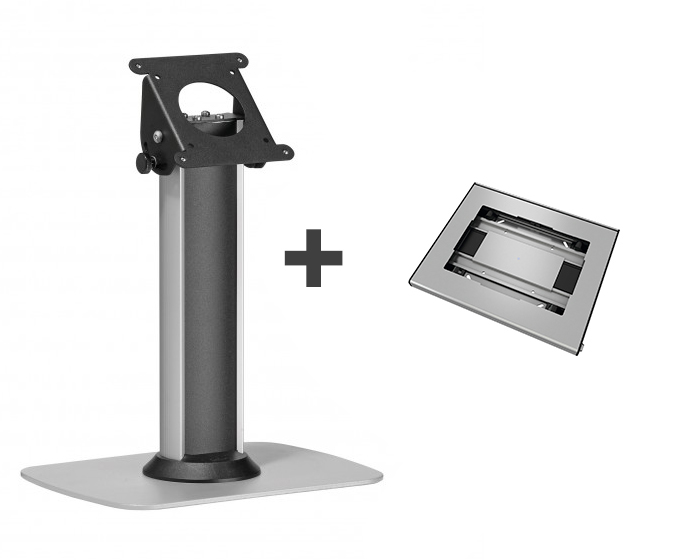 Stand de masa pt. tablete + suport Vogels pentru tablete cu dimensiunile de minim 236x166x3mm si maxim 285x186x10mm