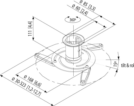 Suport videoproiector tavan Vogels VPC545, fix, max. 10 kg