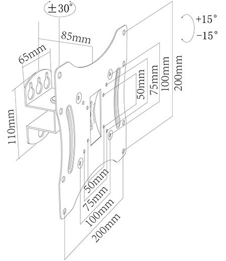 Suport TV perete, reglabil,  Blackmount CT42, 17-42 (43cm-106cm), max. 30 kg