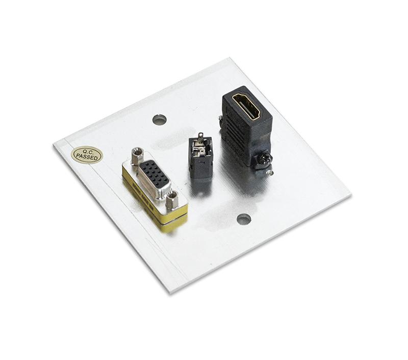 Priza perete 1 x HDMI, 1 x VGA, 1 x 3.5 Audio din aluminiu, EVOCONNECT WP123, Silver