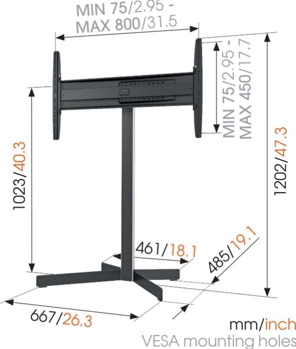 Stand LCD/LED podea Vogels EFF8330, 40-65 (101-165cm), inaltime 110 cm, max. 45 kg