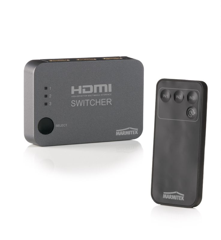 Switch, selector HDMI Marmitek Connect 310 UHD, cu telecomanda si extensie IR, 3 intrari, 4K support