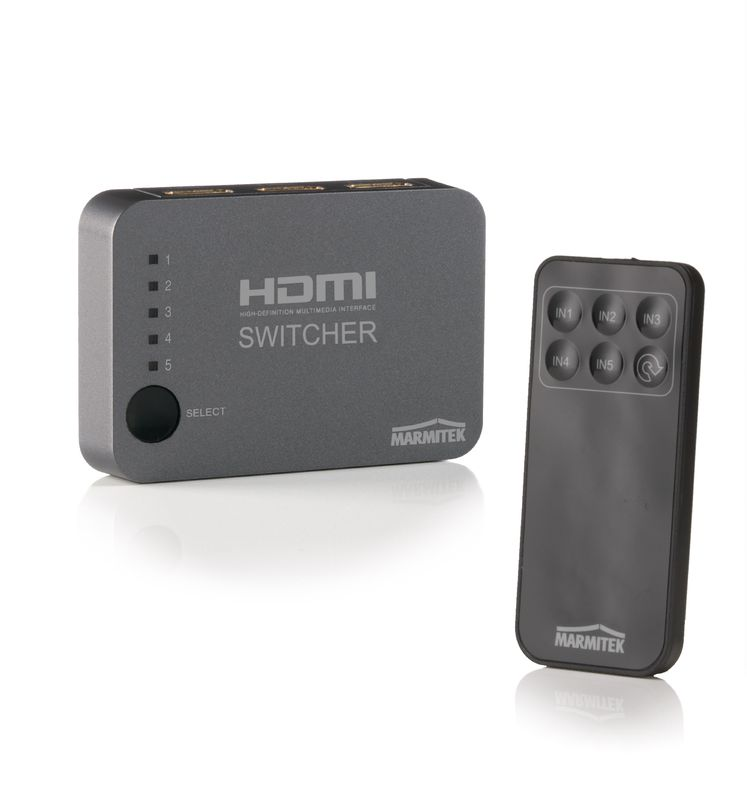 Switch, selector HDMI Marmitek Connect 350 UHD, cu telecomanda si extensie IR, 5 intrari, 4K support